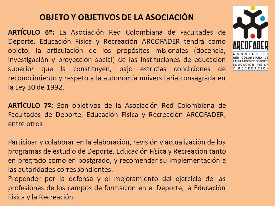 OBJETO Y OBJETIVOS DE LA ASOCIACIÓN ARTÍCULO 6º: La Asociación Red Colombiana de Facultades de Deporte, Educación Física y Recreación ARCOFADER tendrá