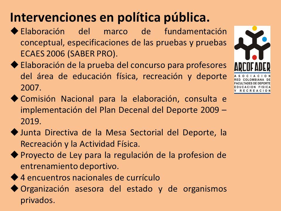 Intervenciones en política pública. Elaboración del marco de fundamentación conceptual, especificaciones de las pruebas y pruebas ECAES 2006 (SABER PR