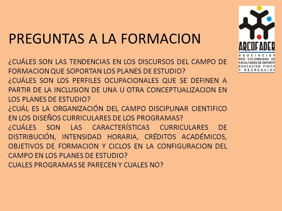 PREGUNTAS A LA FORMACION ¿CUÁLES SON LAS TENDENCIAS EN LOS DISCURSOS DEL CAMPO DE FORMACION QUE SOPORTAN LOS PLANES DE ESTUDIO.