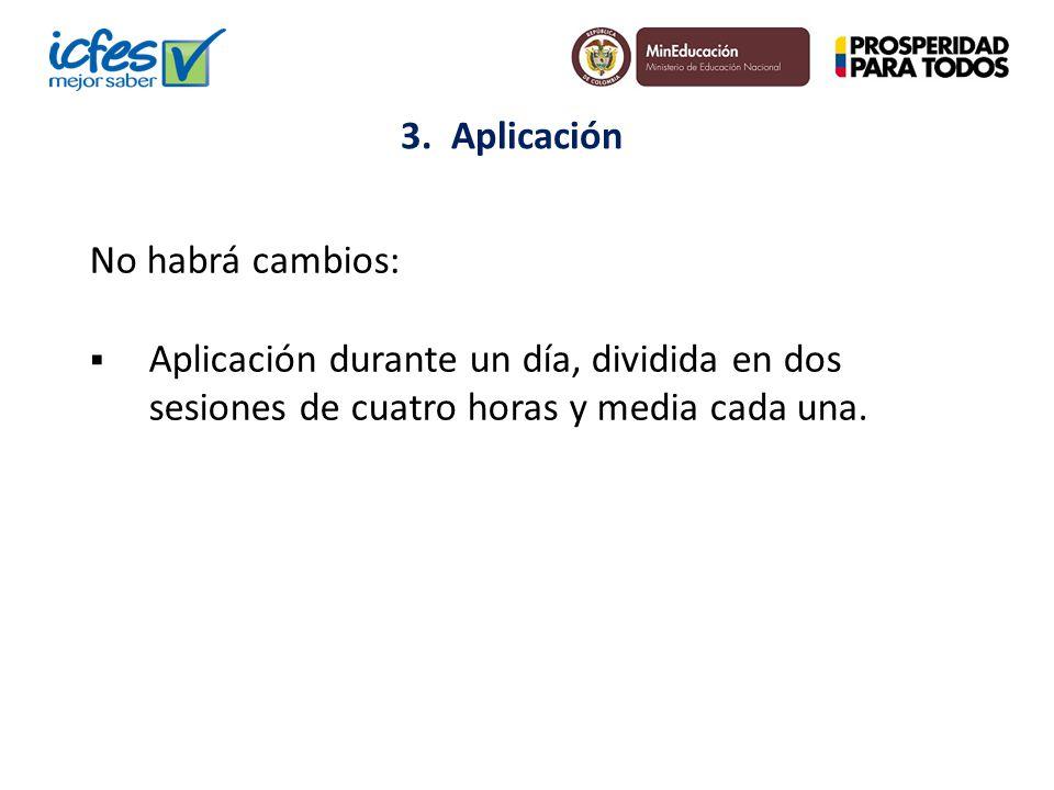 3. Aplicación No habrá cambios: Aplicación durante un día, dividida en dos sesiones de cuatro horas y media cada una.