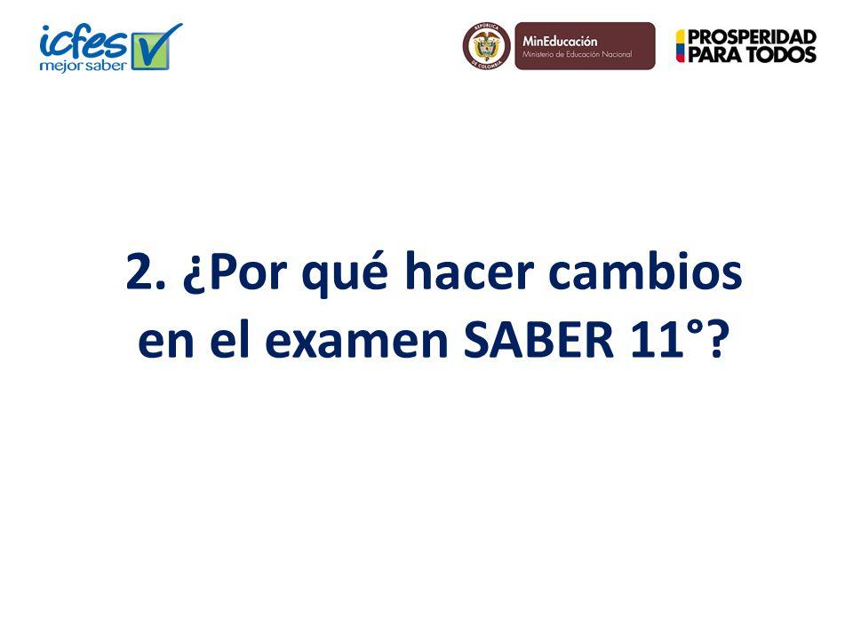 2. ¿Por qué hacer cambios en el examen SABER 11°?
