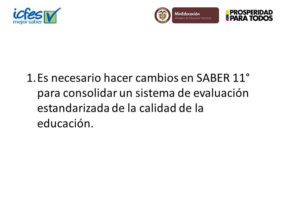 1.Es necesario hacer cambios en SABER 11° para consolidar un sistema de evaluación estandarizada de la calidad de la educación.