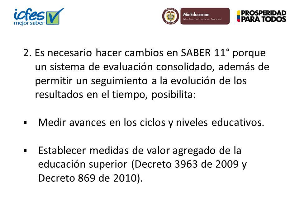 2. Es necesario hacer cambios en SABER 11° porque un sistema de evaluación consolidado, además de permitir un seguimiento a la evolución de los result