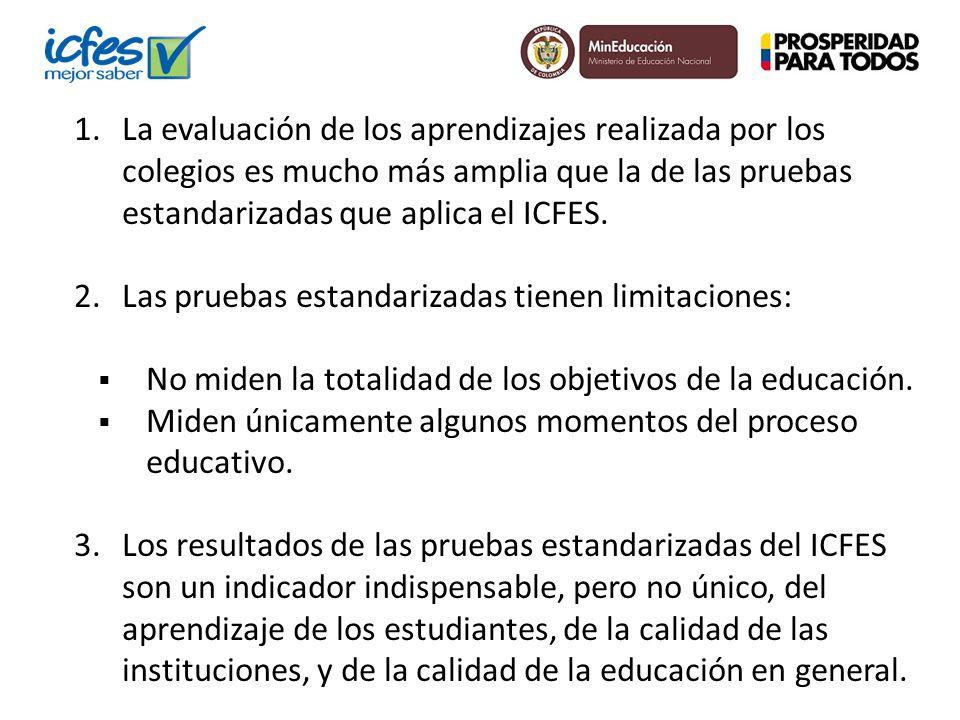 1.La evaluación de los aprendizajes realizada por los colegios es mucho más amplia que la de las pruebas estandarizadas que aplica el ICFES. 2.Las pru