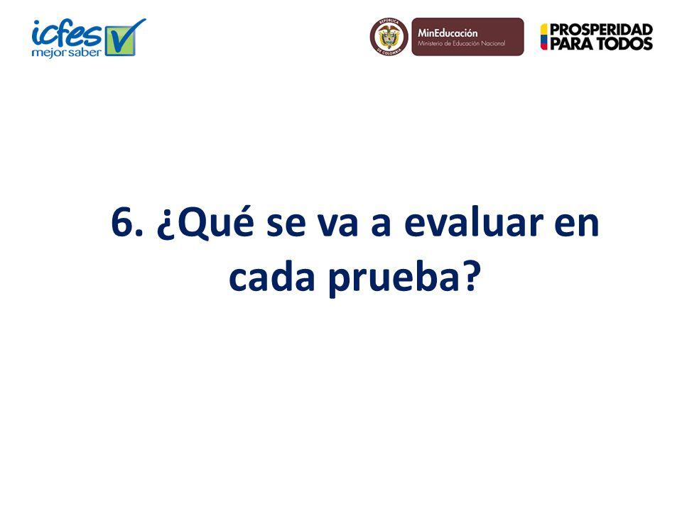 6. ¿Qué se va a evaluar en cada prueba?