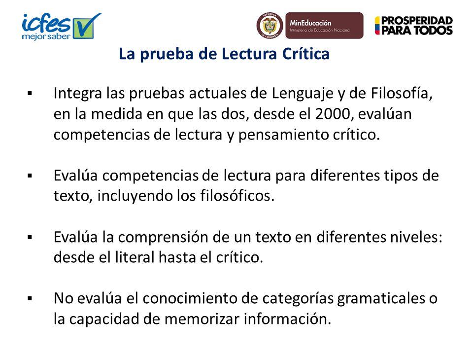 Integra las pruebas actuales de Lenguaje y de Filosofía, en la medida en que las dos, desde el 2000, evalúan competencias de lectura y pensamiento crí