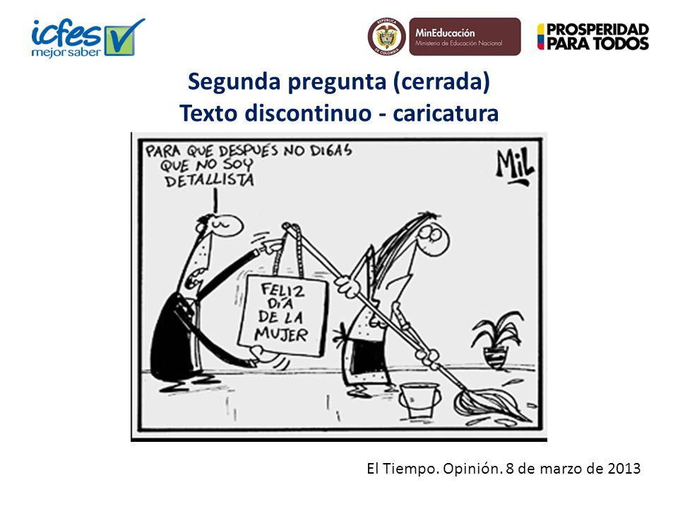 Segunda pregunta (cerrada) Texto discontinuo - caricatura El Tiempo. Opinión. 8 de marzo de 2013