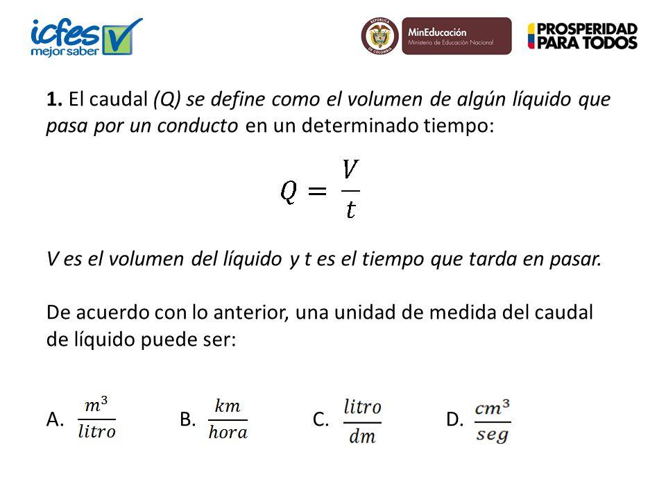 1. El caudal (Q) se define como el volumen de algún líquido que pasa por un conducto en un determinado tiempo: V es el volumen del líquido y t es el t