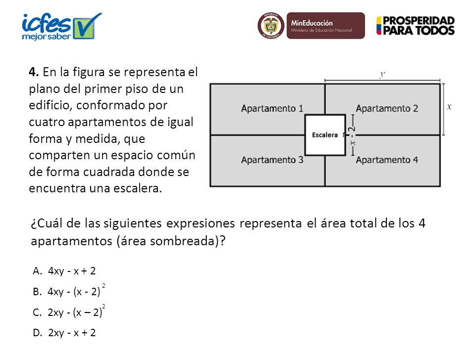 4. En la figura se representa el plano del primer piso de un edificio, conformado por cuatro apartamentos de igual forma y medida, que comparten un es