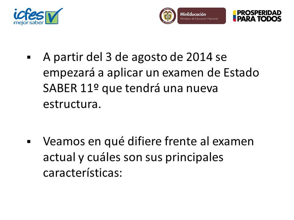 A partir del 3 de agosto de 2014 se empezará a aplicar un examen de Estado SABER 11º que tendrá una nueva estructura. Veamos en qué difiere frente al