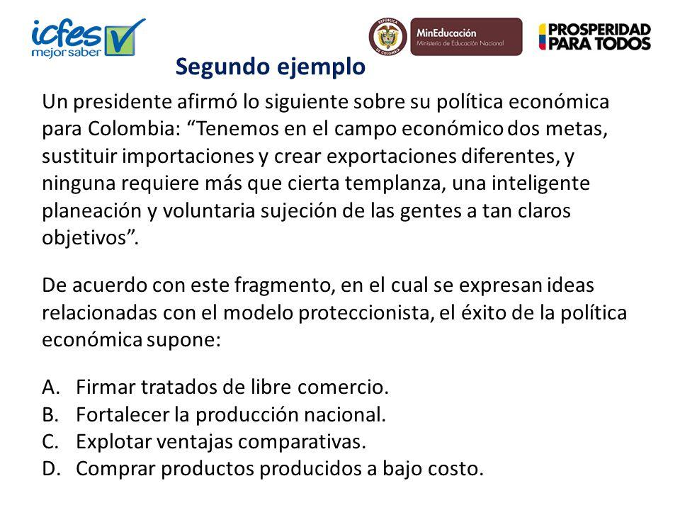 Un presidente afirmó lo siguiente sobre su política económica para Colombia: Tenemos en el campo económico dos metas, sustituir importaciones y crear