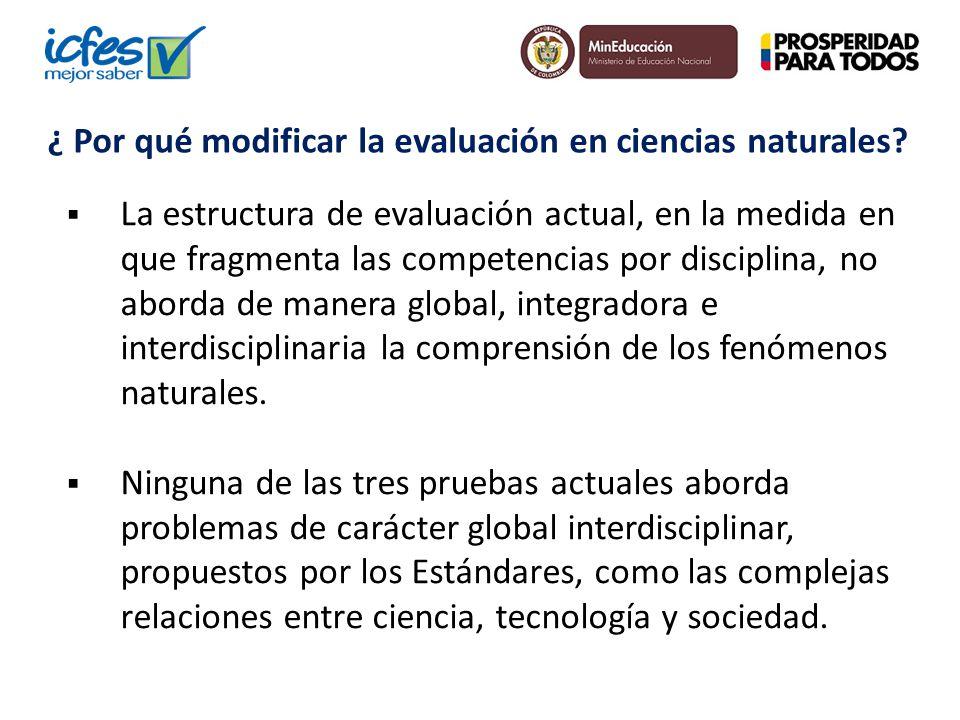 La estructura de evaluación actual, en la medida en que fragmenta las competencias por disciplina, no aborda de manera global, integradora e interdisc
