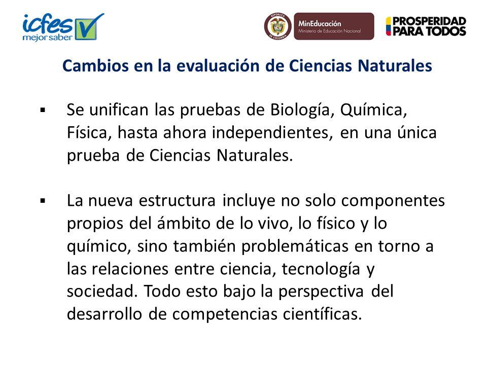 Se unifican las pruebas de Biología, Química, Física, hasta ahora independientes, en una única prueba de Ciencias Naturales. La nueva estructura inclu
