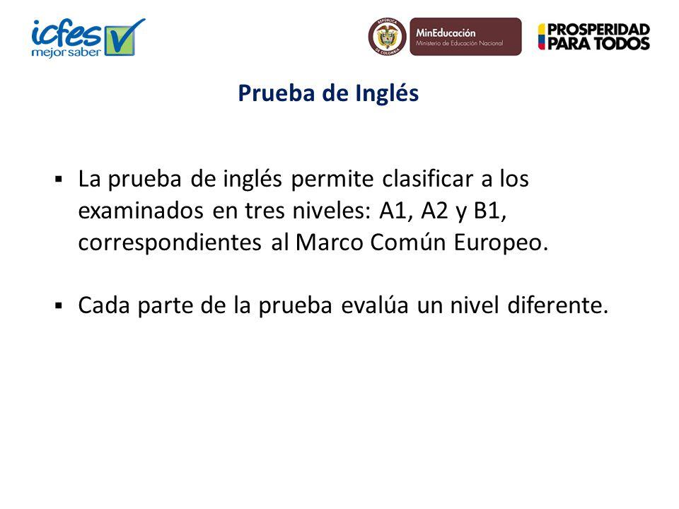 La prueba de inglés permite clasificar a los examinados en tres niveles: A1, A2 y B1, correspondientes al Marco Común Europeo. Cada parte de la prueba