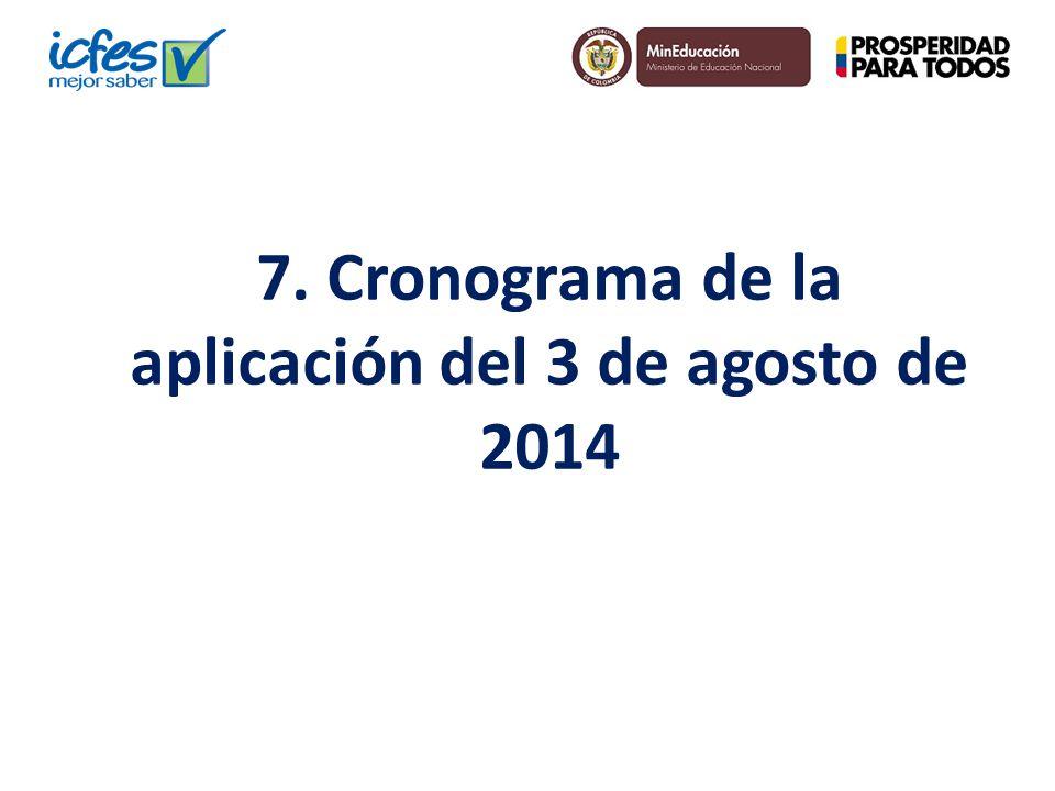 7. Cronograma de la aplicación del 3 de agosto de 2014