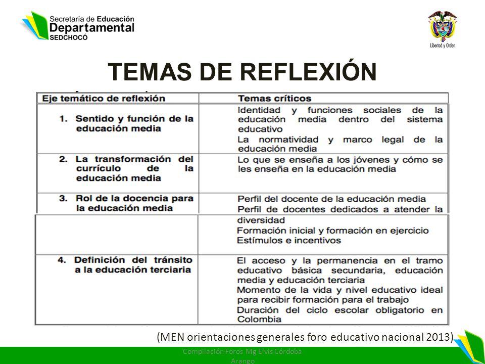 TEMAS DE REFLEXIÓN (MEN orientaciones generales foro educativo nacional 2013) Compilación Foros Mg Elvis Córdoba Arango
