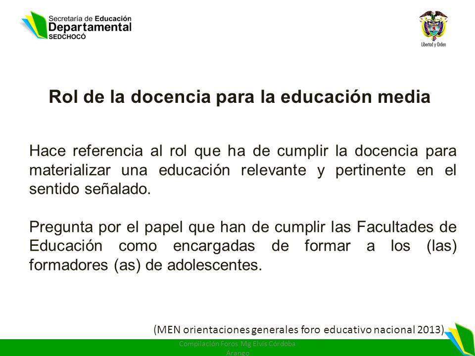 Rol de la docencia para la educación media Hace referencia al rol que ha de cumplir la docencia para materializar una educación relevante y pertinente