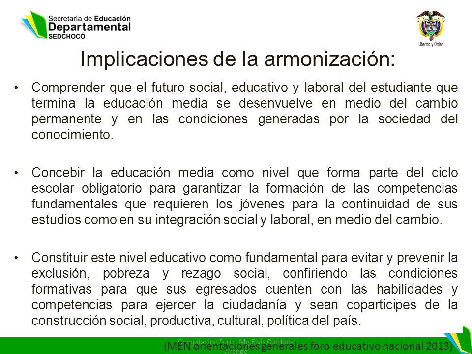 Implicaciones de la armonización: Comprender que el futuro social, educativo y laboral del estudiante que termina la educación media se desenvuelve en