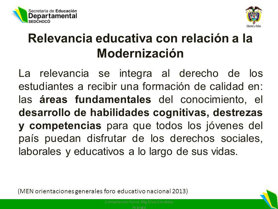 Relevancia educativa con relación a la Modernización La relevancia se integra al derecho de los estudiantes a recibir una formación de calidad en: las