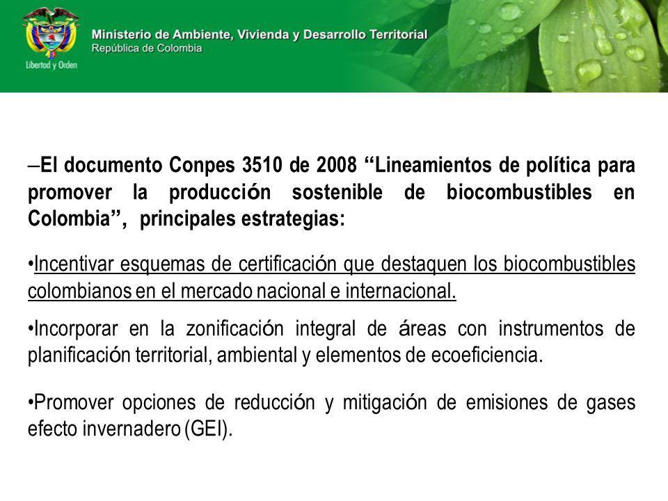 – El documento Conpes 3510 de 2008 Lineamientos de pol í tica para promover la producci ó n sostenible de biocombustibles en Colombia, principales est