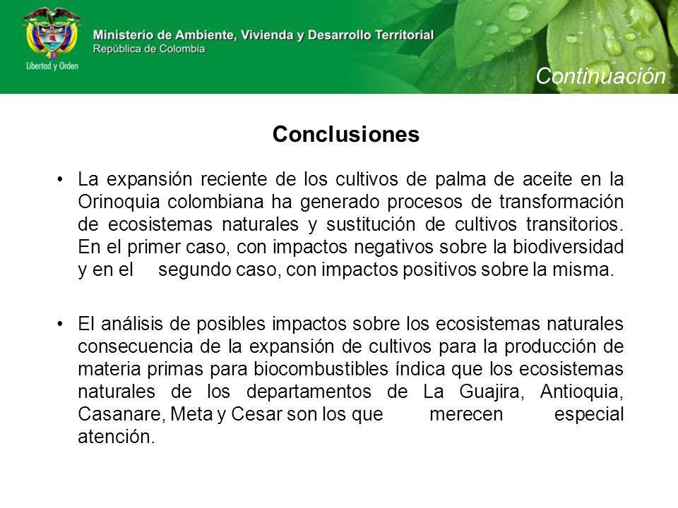 Conclusiones La expansión reciente de los cultivos de palma de aceite en la Orinoquia colombiana ha generado procesos de transformación de ecosistemas