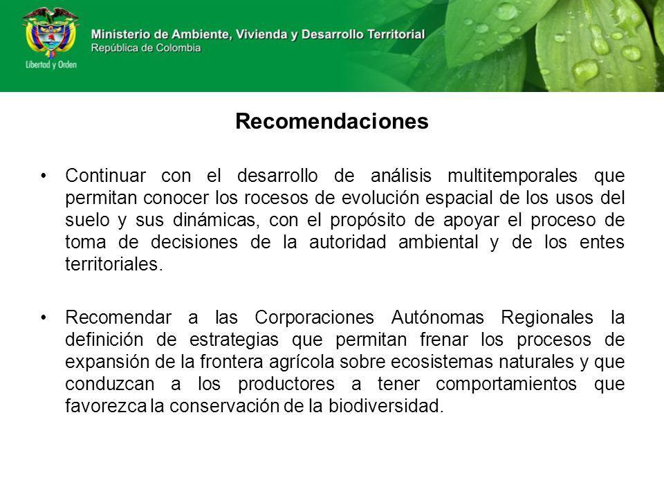 Recomendaciones Continuar con el desarrollo de análisis multitemporales que permitan conocer los rocesos de evolución espacial de los usos del suelo y