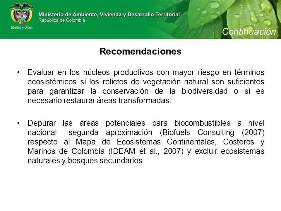Evaluar en los núcleos productivos con mayor riesgo en términos ecosistémicos si los relictos de vegetación natural son suficientes para garantizar la