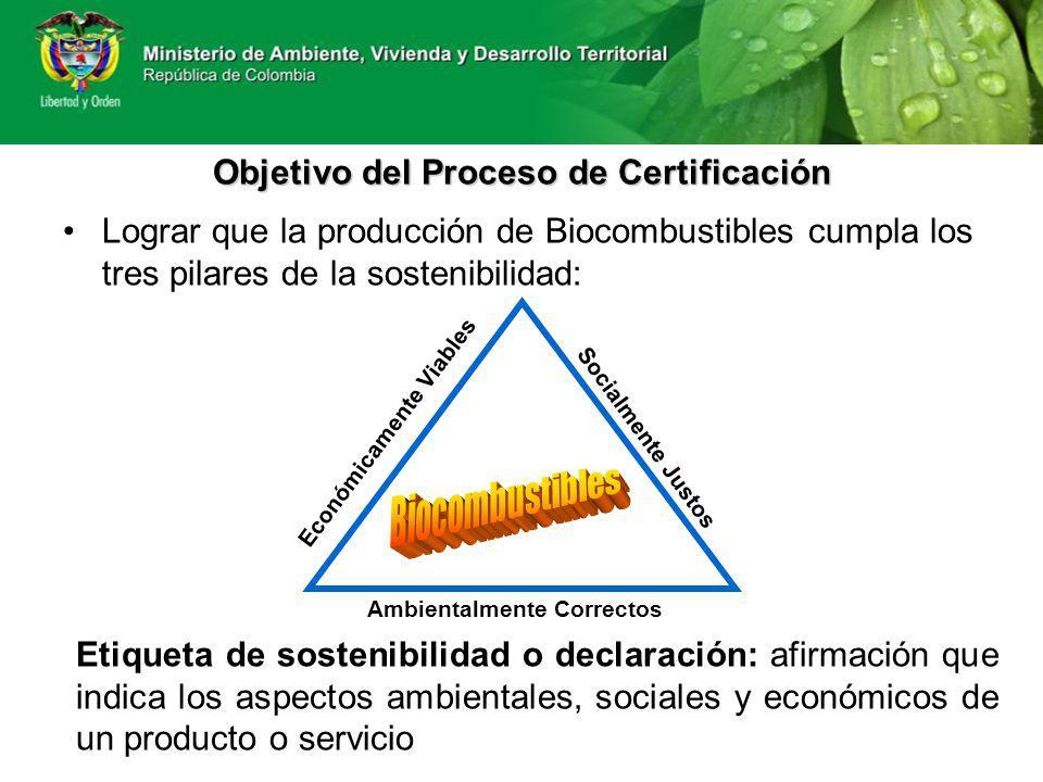 Objetivo del Proceso de Certificación Lograr que la producción de Biocombustibles cumpla los tres pilares de la sostenibilidad: Ambientalmente Correct