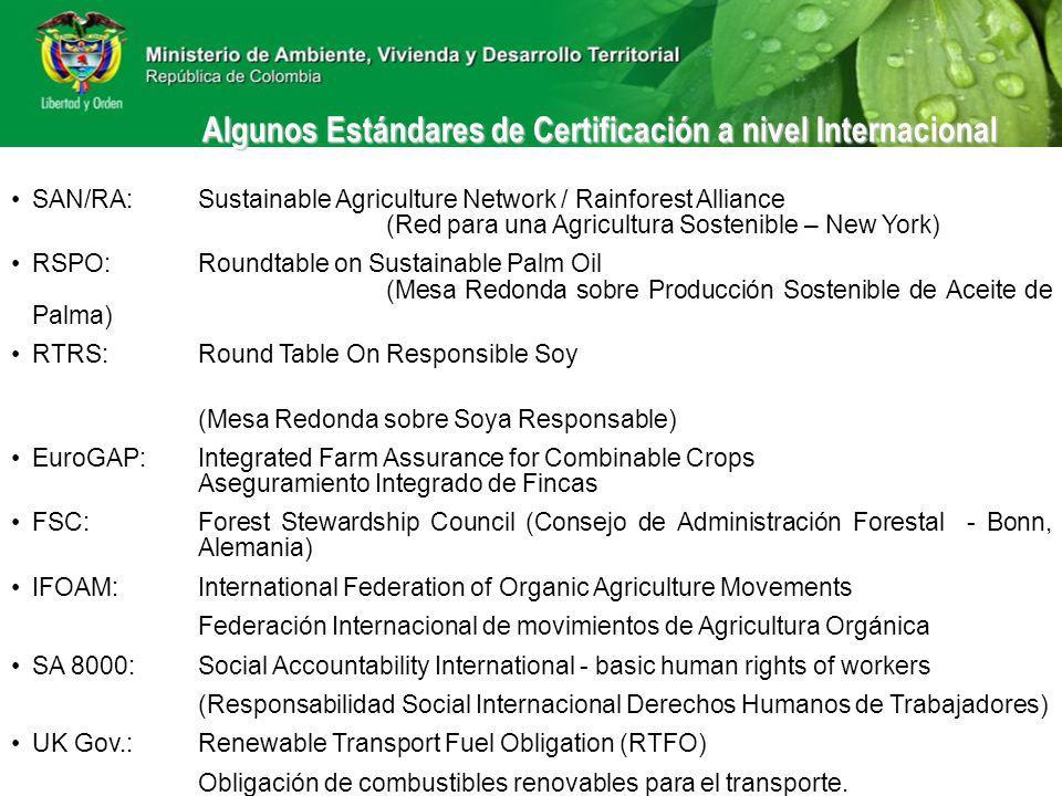 SAN/RA:Sustainable Agriculture Network / Rainforest Alliance (Red para una Agricultura Sostenible – New York) RSPO:Roundtable on Sustainable Palm Oil (Mesa Redonda sobre Producción Sostenible de Aceite de Palma) RTRS:Round Table On Responsible Soy (Mesa Redonda sobre Soya Responsable) EuroGAP:Integrated Farm Assurance for Combinable Crops Aseguramiento Integrado de Fincas FSC:Forest Stewardship Council (Consejo de Administración Forestal - Bonn, Alemania) IFOAM:International Federation of Organic Agriculture Movements Federación Internacional de movimientos de Agricultura Orgánica SA 8000:Social Accountability International - basic human rights of workers (Responsabilidad Social Internacional Derechos Humanos de Trabajadores) UK Gov.:Renewable Transport Fuel Obligation (RTFO) Obligación de combustibles renovables para el transporte.