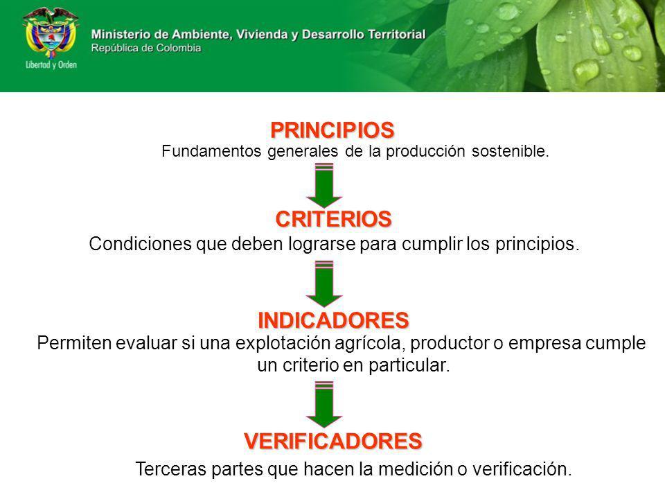 PRINCIPIOS Fundamentos generales de la producción sostenible. CRITERIOS Condiciones que deben lograrse para cumplir los principios. INDICADORES Permit