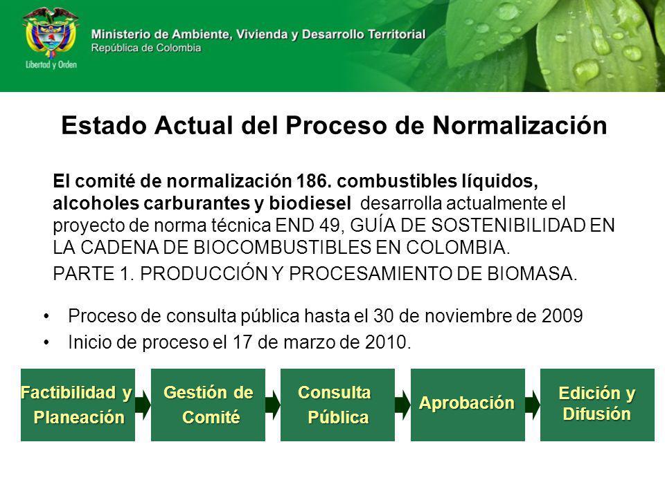 Estado Actual del Proceso de Normalización El comité de normalización 186. combustibles líquidos, alcoholes carburantes y biodiesel desarrolla actualm