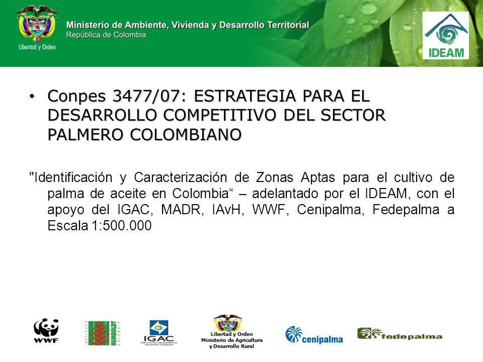 Conpes 3477/07: ESTRATEGIA PARA EL DESARROLLO COMPETITIVO DEL SECTOR PALMERO COLOMBIANO Conpes 3477/07: ESTRATEGIA PARA EL DESARROLLO COMPETITIVO DEL
