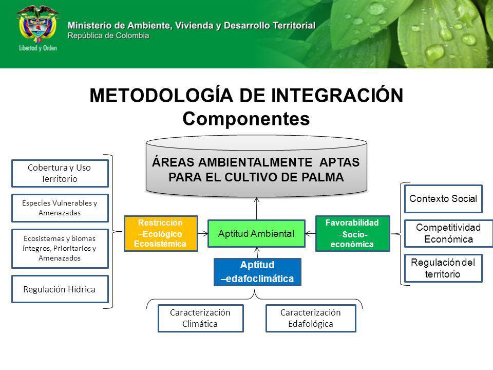 METODOLOGÍA DE INTEGRACIÓN Componentes ÁREAS AMBIENTALMENTE APTAS PARA EL CULTIVO DE PALMA Aptitud Ambiental Restricción –Ecológico Ecosistémica Favor