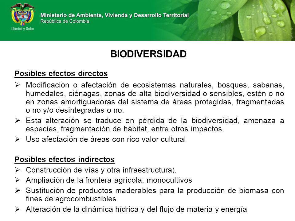 BIODIVERSIDAD Posibles efectos directos Modificación o afectación de ecosistemas naturales, bosques, sabanas, humedales, ciénagas, zonas de alta biodi