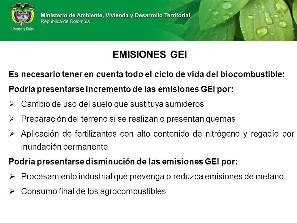 EMISIONES GEI Es necesario tener en cuenta todo el ciclo de vida del biocombustible: Podría presentarse incremento de las emisiones GEI por: Cambio de