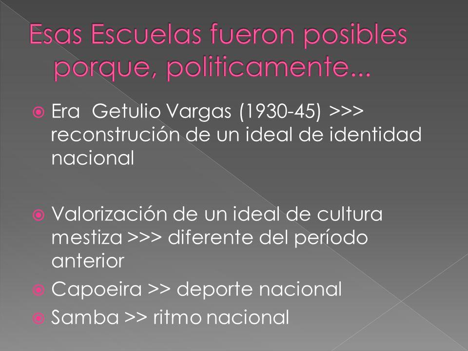 Era Getulio Vargas (1930-45) >>> reconstrución de un ideal de identidad nacional Valorización de un ideal de cultura mestiza >>> diferente del período anterior Capoeira >> deporte nacional Samba >> ritmo nacional