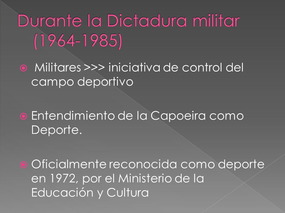 Militares >>> iniciativa de control del campo deportivo Entendimiento de la Capoeira como Deporte.