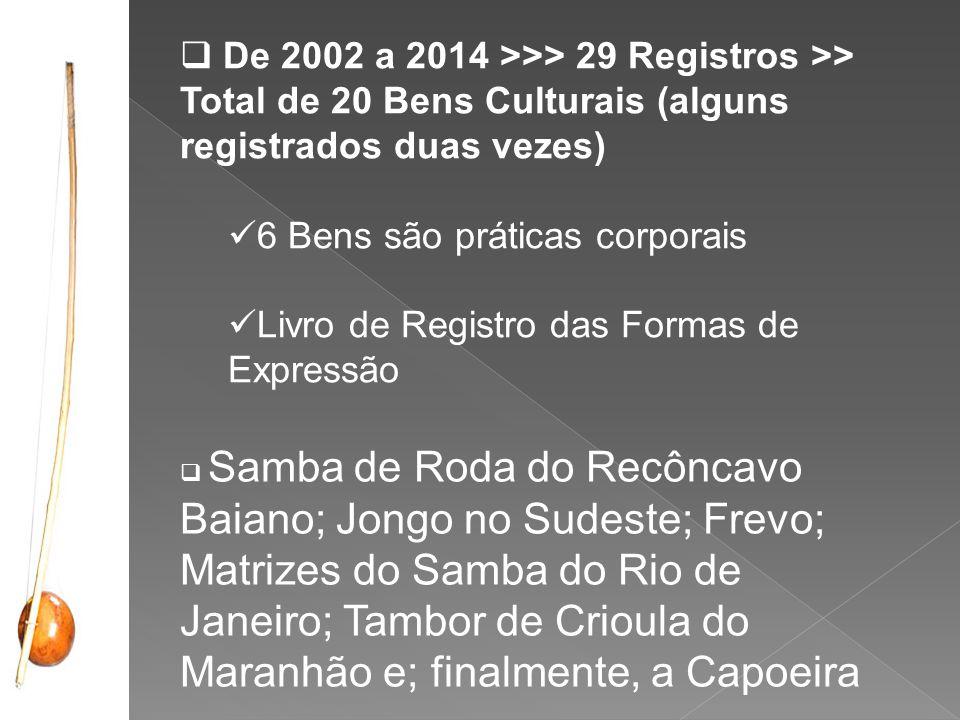 De 2002 a 2014 >>> 29 Registros >> Total de 20 Bens Culturais (alguns registrados duas vezes) 6 Bens são práticas corporais Livro de Registro das Formas de Expressão Samba de Roda do Recôncavo Baiano; Jongo no Sudeste; Frevo; Matrizes do Samba do Rio de Janeiro; Tambor de Crioula do Maranhão e; finalmente, a Capoeira