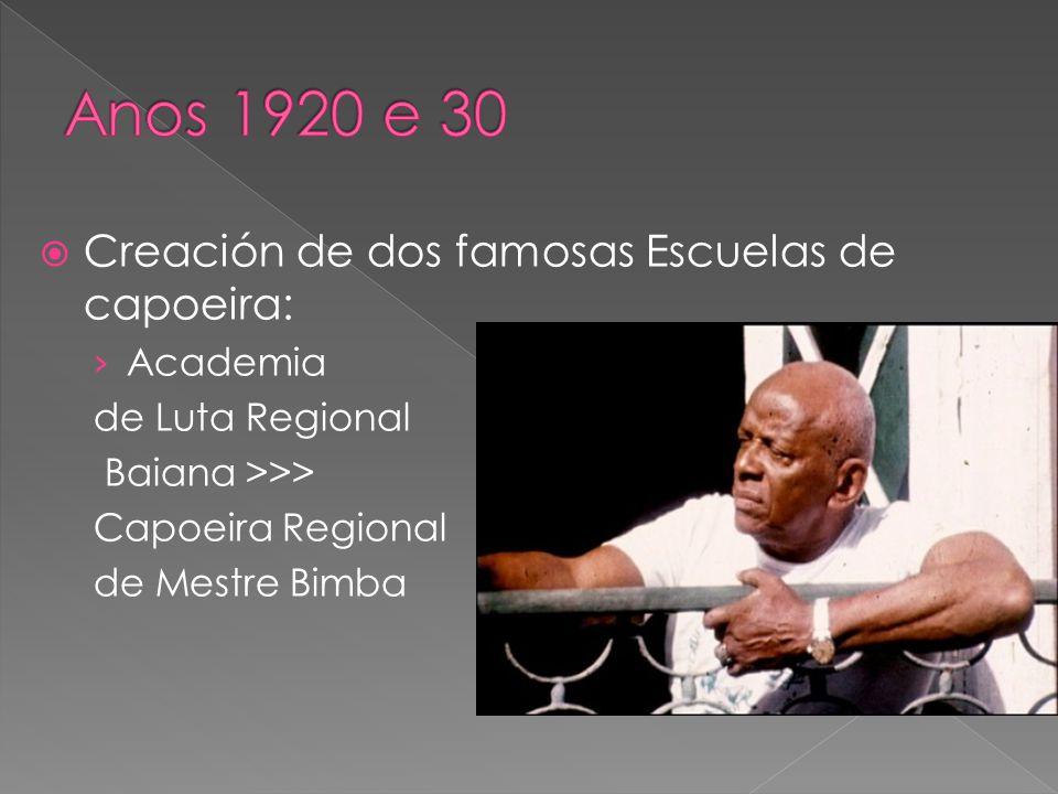 Creación de dos famosas Escuelas de capoeira: Academia de Luta Regional Baiana >>> Capoeira Regional de Mestre Bimba