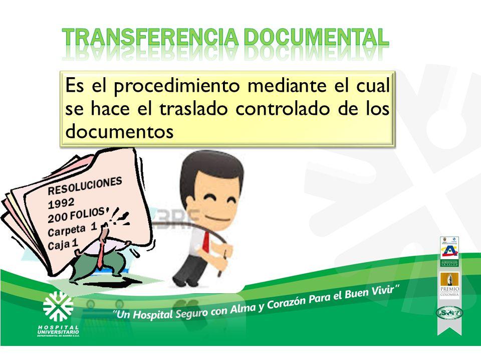 Consiste en el traslado de documentos de los archivos de gestión al archivo central, una vez que estos han cumplido su tramite administrativo y han agotado su tiempo de retención establecido en la TRD.