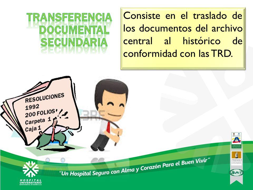 Consiste en el traslado de los documentos del archivo central al histórico de conformidad con las TRD.