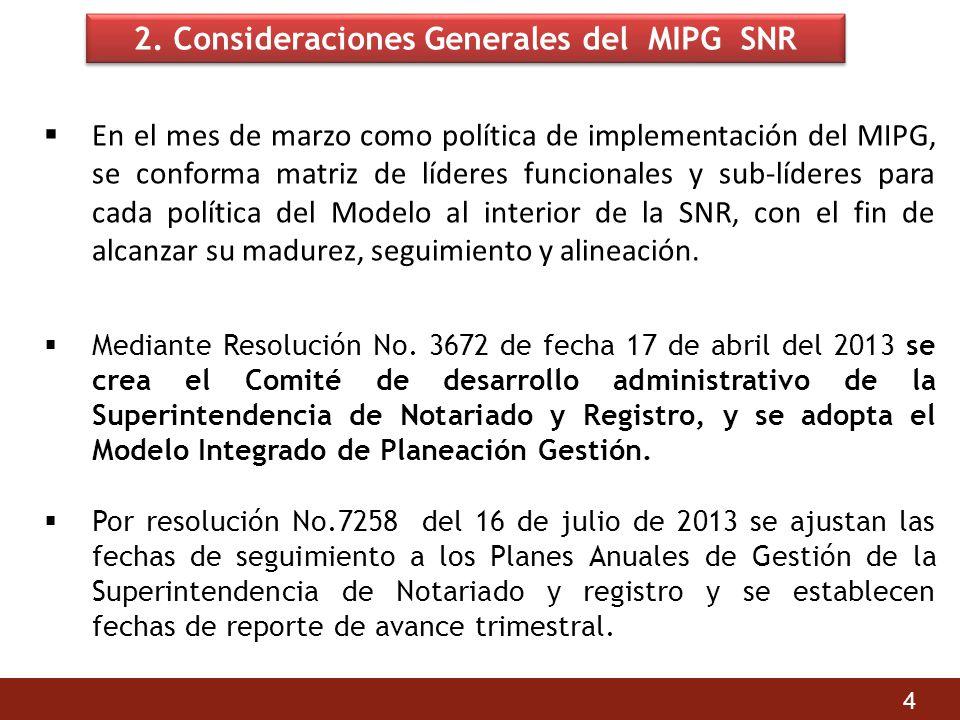 2. Consideraciones Generales del MIPG SNR En el mes de marzo como política de implementación del MIPG, se conforma matriz de líderes funcionales y sub
