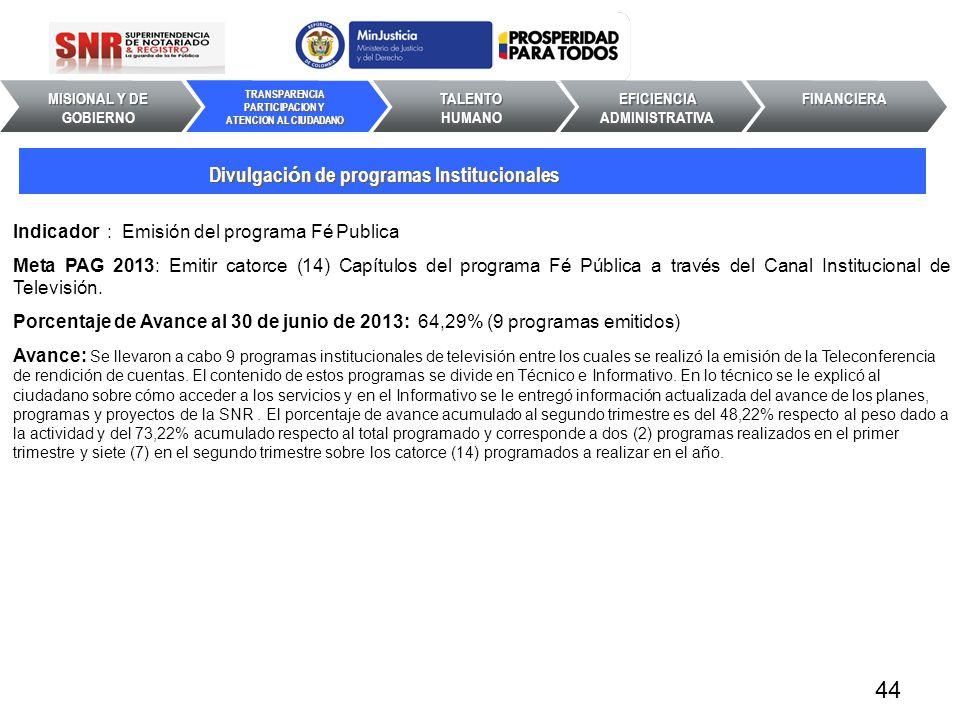 Indicador : Emisión del programa Fé Publica Meta PAG 2013: Emitir catorce (14) Capítulos del programa Fé Pública a través del Canal Institucional de T
