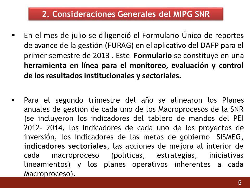 2. Consideraciones Generales del MIPG SNR En el mes de julio se diligenció el Formulario Único de reportes de avance de la gestión (FURAG) en el aplic