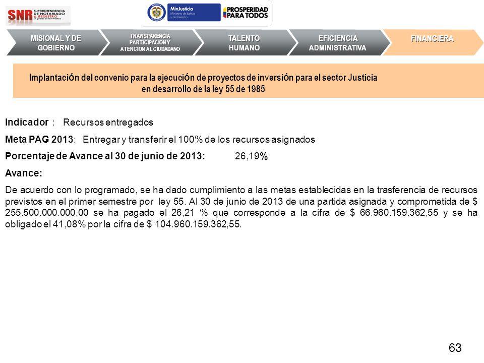 Indicador : Recursos entregados Meta PAG 2013: Entregar y transferir el 100% de los recursos asignados Porcentaje de Avance al 30 de junio de 2013: 26