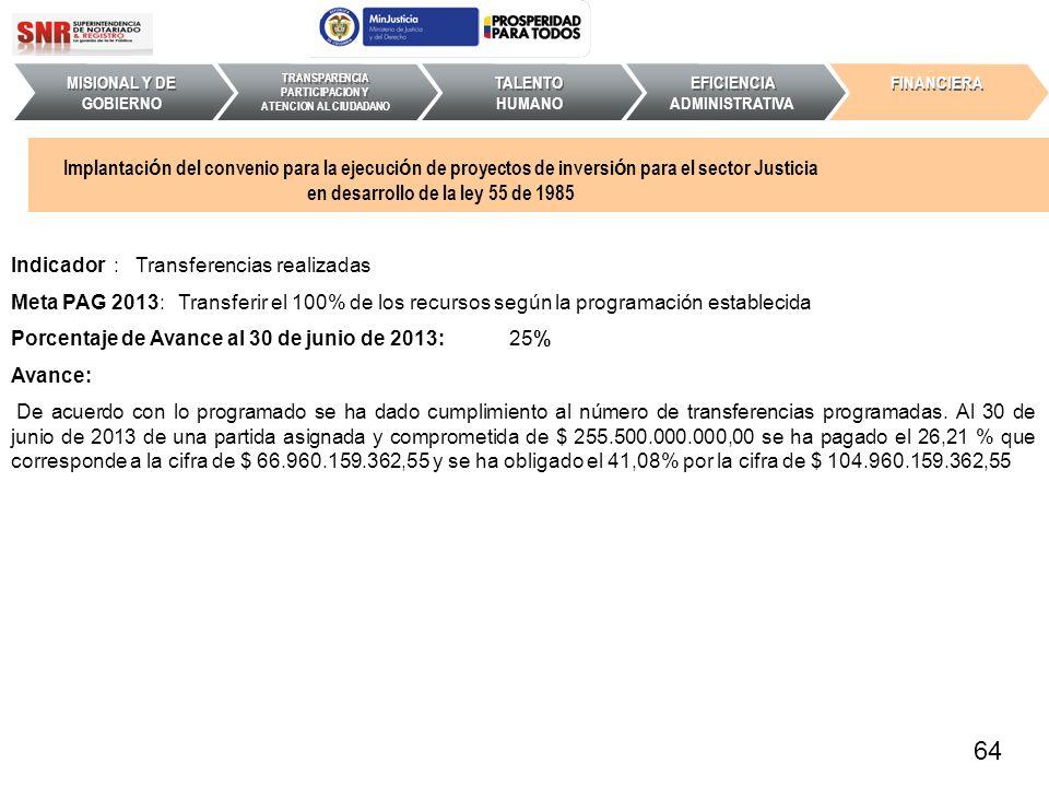 Indicador : Transferencias realizadas Meta PAG 2013: Transferir el 100% de los recursos según la programación establecida Porcentaje de Avance al 30 d