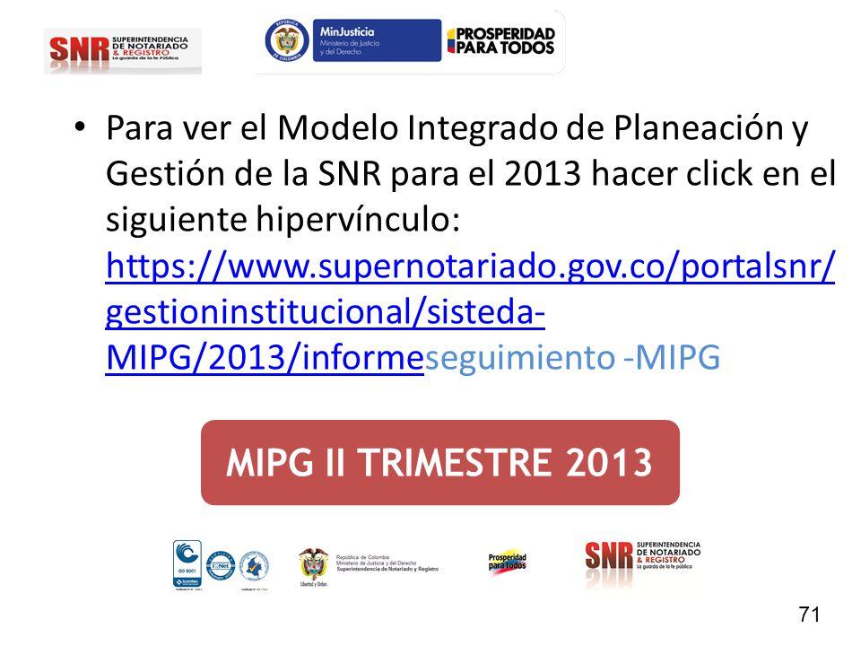 MIPG II TRIMESTRE 2013 Para ver el Modelo Integrado de Planeación y Gestión de la SNR para el 2013 hacer click en el siguiente hipervínculo: https://w