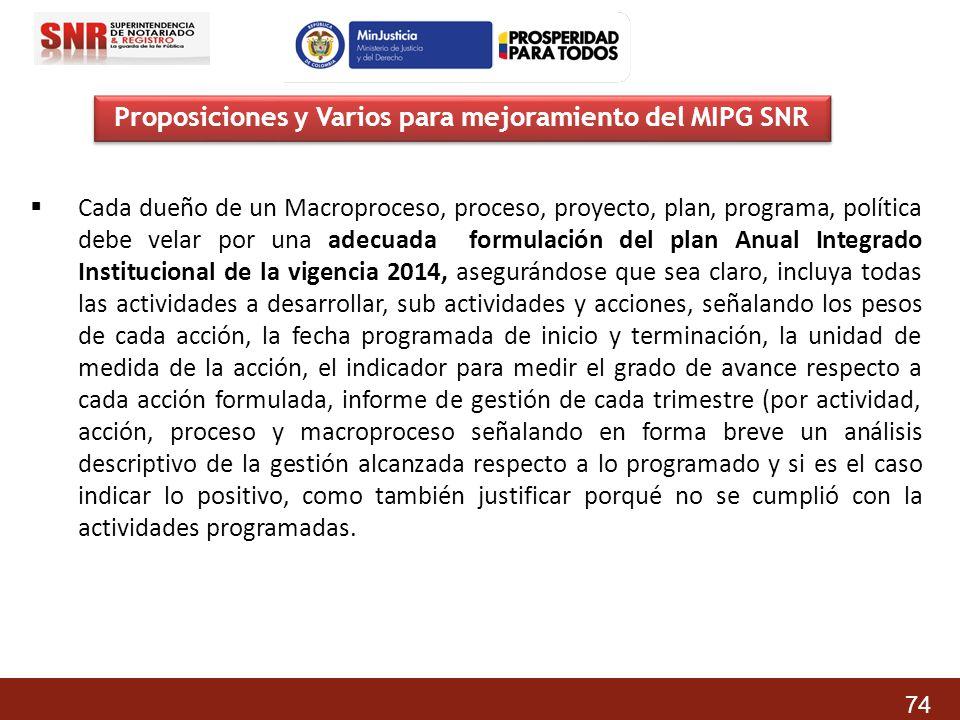 Proposiciones y Varios para mejoramiento del MIPG SNR Cada dueño de un Macroproceso, proceso, proyecto, plan, programa, política debe velar por una ad