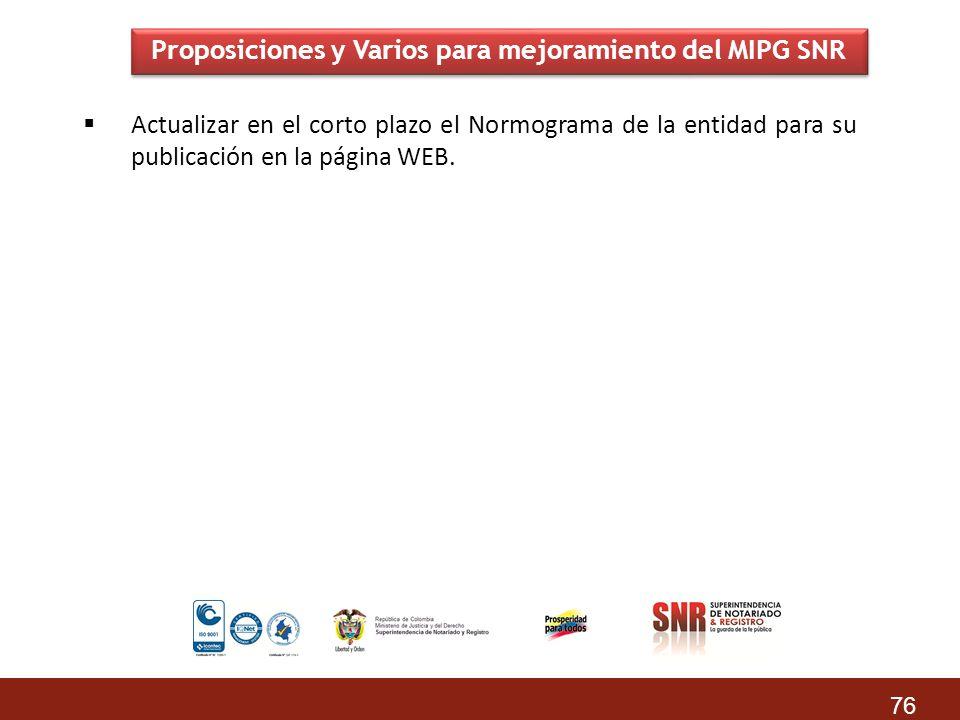 Proposiciones y Varios para mejoramiento del MIPG SNR Actualizar en el corto plazo el Normograma de la entidad para su publicación en la página WEB. 7
