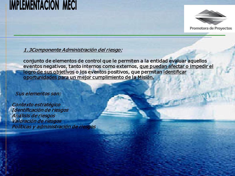 1.2Componente direccionamiento estratégico: conjunto de elementos de control que establecen el marco de referencia que orientan a la institución al cu